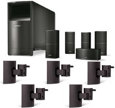 Bose Acoustimass 10 Series V Home Theater Speaker System, Black Bundle with (5) UB-20 Black Wall/Ceiling Brackets
