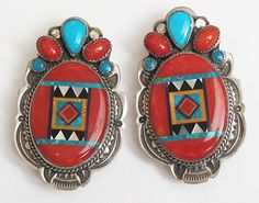Turquoise, coral, jet, spiny oyster and mother of pearl inlay earrings
