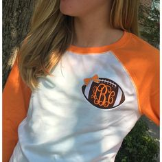 Three Quarter Sleeve Raglan orange/white Tennessee Vols Tee Monogram... ($25) ❤ liked on Polyvore featuring tops, t-shirts, grey, women's clothing, white t shirt, orange t shirt, white 3/4 sleeve shirt, stitch t shirt and raglan shirts