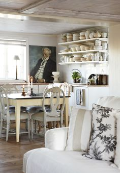 Rustic Little Swedish Kitchen With Beautiful Portrait   Sköna Hem