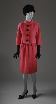 Woman's Three-piece Suit, Cristóbal Balenciaga, 1961, French; Wool novelty yarn suit with braided silk buttons; silk twill blouse