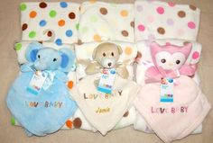 Baby Personalised Embroidery Comforter & Blanket Gift Set Any Name D.O.B Weight