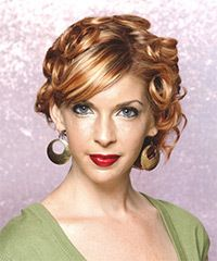 Pin Curls have been used all over that will give long lasting durability. The side swept bangs and part make this an ideal hairstyle for longer face shapes.