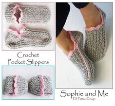 Ribbed Slipper Pocket Socks  Crochet Pattern  by PdfPatternDesign