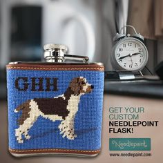 Get it at www.needlepaint.com today!🎯 You can personalize any of our designs. We use 100% genuine leather for the trim and a 5 oz stainless steel flask. Each flask includes a free monogram.⬅️ Our Flasks are 4 inches wide x 4.5 inches high x 1.25 inches deep.  #needlepoint #Flask Free Monogram, Flasks, Needlepoint, How To Get, Stainless Steel, Deep, Canning, Board, Cover