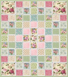GORGEOUS~ COTTAGE CHIC QUILT KIT~ROSES~CREAM~BLUE~PINK~ROSE~GREEN~FABRIC~Q#3