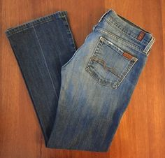 7FAM 7 For All Mankind Womens Sz 28 (30x29) Flare in NY Dark Wash #7ForAllMankind #Flare