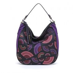 BRACCIALINI BAG JACQUARD Purple Large Braccialini Tote Bag Jacquard Suede in leather and fabric. For the first time, the colours of a jacquard with fan print are combined with the bright colours of suede for this new interpretation of a Braccialini classic. to be worn as a shoulder bag. Made in Italy. #braccialini #madeinitalybag #madeinitaly