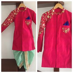 Detailing and embroidery customized powder blue dhotiand pink kurta for your kid from Sunaina Rao Label. 04 May 2017 Kids Indian Wear, Kids Ethnic Wear, Indian Groom Wear, Baby Boy Dress, Baby Boy Outfits, Kids Outfits, Wedding Dresses For Kids, Wedding Dress Men, Boys Clothes Style