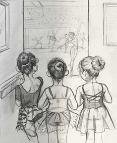 The older girls. Inspired by a moment. The older girls. Inspired by a moment. Ballerina Kunst, Ballerina Drawing, Dancer Drawing, Ballet Drawings, Dancing Drawings, Art Drawings Sketches, Cute Drawings, Sketch Art, Dancing Sketch