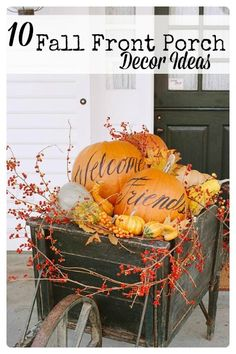 Get creative with your porch for fall. I can't wait to try some of these awesome and easy ideas. 10 Front Porch Decor Ideas for Fall via tipsaholic.com #frontporch #fall #autumn
