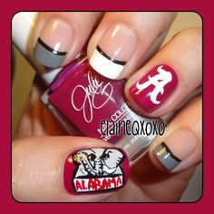 Why can't i paint my nails like this?? I love it!! alabama crismon tide by  elaineqxoxo  #nail #nails #nailart