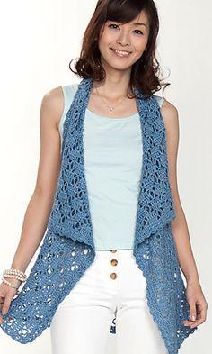 Ravelry: Front-draped Gilet pattern by Pierrot (Gosyo Co., Ltd)