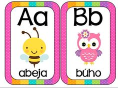 Abecedario animales formato tarjetas imprimibles - Imagenes Educativas Spanish Lessons For Kids, Spanish Activities, Preschool Activities, Alfabeto Animal, School Worksheets, School Items, Class Decoration, Baby Development, New School Year