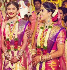 South Indian bride. Temple jewelry. Silk kanchipuram sari.Braid with fresh flowers. Tamil bride. Telugu bride. Kannada bride. Hindu bride. Malayalee bride. South Indian wedding.Pranitha Reddy Manoj Manchu wedding