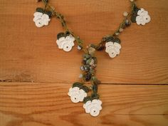crochet necklace white rose flower turkish oya by PashaBodrum