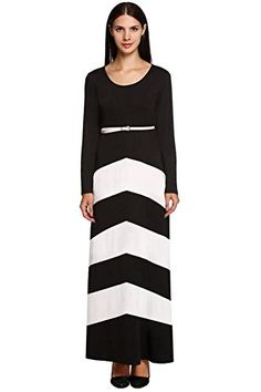 7be9401ce41 Womens Contrast Color Striped Maxi Dresses Plus Size at Amazon Women s  Clothing store