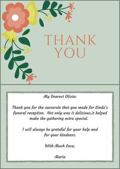 Thank You Note Funeral Etiquette Donation | Funeral thank ...