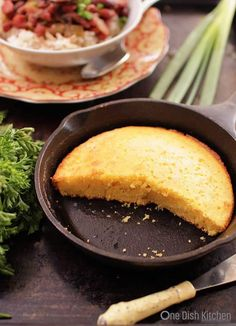 This classic, buttery and sweet Cornbread For One can be made in a small cast iron skillet or mini baking dish. It's the perfect size if you're cooking for one. | ONE DISH KITCHEN - Your Cooking For One Source