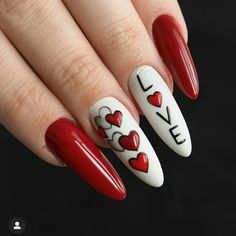 Fascinating Acrylic Red Nails Designs For You - Nail Art Connect Valentine's Day Nail Designs, Creative Nail Designs, Casual Nails, Stylish Nails, Nail Swag, Nyc Nails, Anime Nails, Valentine Nail Art, Fall Acrylic Nails
