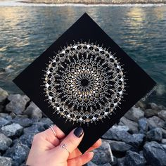 """Mighty fine weather today to sit by the river • I think I will be working with some gold more often ✨  #mandala #mandalas #beautiful_mandalas…"""