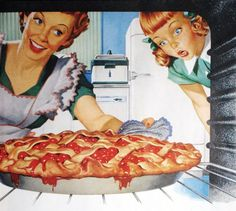 Vintage 1950s ads | the50s:Woman taking cherry pie from ovenIllustration of an idealized ...