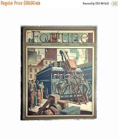 20% OFF Fortune Magazine, August 1933, Duke Ellington, J.P. Morgan, Art Deco Cover by Ernest Hamlin Baker, Antique Ephemera, Free Shipping $40.00 by OakwoodView