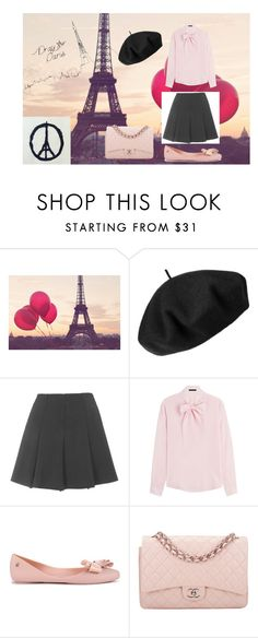 """Pray for Paris<3"" by bellaclairecassedemont ❤ liked on Polyvore featuring Betmar, Topshop, Karl Lagerfeld, Melissa and Chanel"