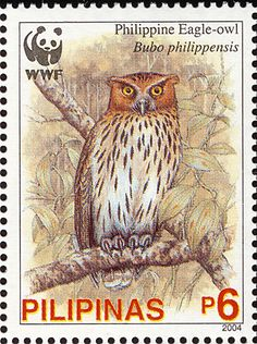 Stamps showing Philippine Eagle-Owl Bubo philippensis