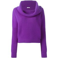 Tomas Maier Cowl Neck Ribbed Sweater ($1,374) ❤ liked on Polyvore featuring tops, sweaters, purple cashmere sweater, ribbed sweater, purple top, cowl neck tops and purple sweater