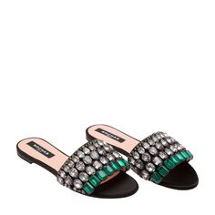3b98758ad Shop Rochas Black FABRIC Embellished satin sandals for Women at Level Shoes  in Dubai mall or Buy Online and Pay Cash on delivery in UAE