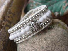 Sweet Little Turtle. White Leather Chan Luu Bracelet
