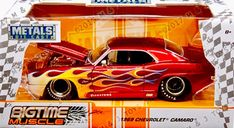 Jada Bigtime Muscle 1/24 1969 Chevrolet Camaro Diecast Model, Flames, Red, 99089  | eBay