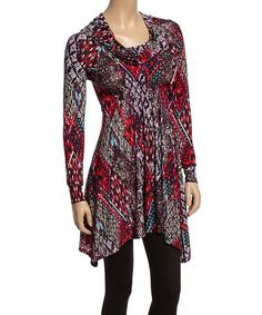 Another great find on #zulily! Red & Purple Abstract Geometric Cowl Neck Tunic #zulilyfinds