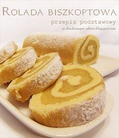 rolada biszkoptowa - przepis podstawowy Desserts With Biscuits, Cookie Desserts, Polish Recipes, Pumpkin Cheesecake, Coffee Cake, Cheddar Cheese, Cake Cookies, Hot Dog Buns, Good Food