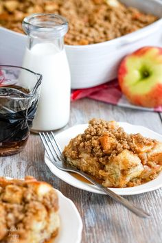 Cinnamon Apple French Toast Casserole is the perfect make ahead breakfast! Loaded with baked apples and topped with cinnamon streusel, it's a recipe you'll come back to time after time.   Is there anything quite so comforting and homey as the smell of cinnamon baked apples? If you agree with me on this point, you're going to love this hearty breakfast casserole. Everything about this French toast casserole is easy and comforting. From the milk to the apples to the eggs and butter this is one…