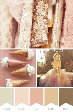 Rose Gold color palette for my rose gold wedding! Rose Gold and Morganite engagement ring, Rose Gold wedding rings, blush bridesmaid dresses, with an ivory wedding dress! Rose Gold Color Palette, Gold Color Palettes, Gold Palette, Peach Palette, Gold Color Scheme, Pastel Palette, Neutral Palette, Wedding Themes, Wedding Colors