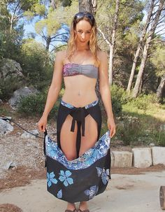 CréaByKikita: Finally my mine ! And tutorial harem hybrid super easy! Simple Dresses, Pretty Dresses, Pantalon Thai, Convertible Clothing, Filipiniana Dress, Under Dress, Apron Dress, Refashion, Diy Clothes