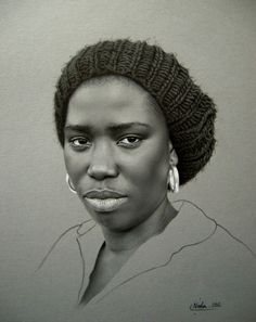 Artist: Neda Sajadi, 2012 {contemporary figurative realism female head art african-american black woman face portrait pencil drawing} https://facebook.com/neda.sajadi