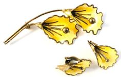 Aksel Holmsen Norway Sterling Orchid Brooch Earrings Enamel 1968 Guilloche Set