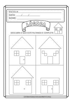Ficha de atividade de Lógica que agrega, também, habilidades de desenho e percepção visual.