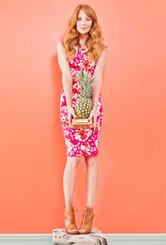 ROXI PRINT DRESS IN RASPBERRY, POPPY BELT IN CORAL PRINTED CROC, DOLLY BOOTIE IN TAN, AND NATALIE LEATHER WOVEN CLUTCH IN TAN, ALL AT L.K.BENNETT. #SPRINGSPLASH