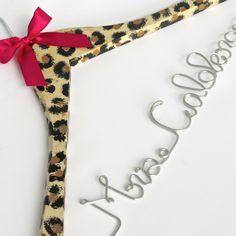 Personalized Wedding Dress Hanger, Custom Hanger, Cheetah Print, Animal Print, Bride Hanger, Leopard Print by EricaMayMade on Etsy