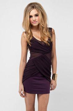 Pinpoint Mesh Dress in Plum $48 at www.tobi.com
