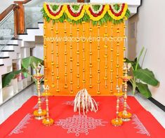 Simple decor for function by Vinay and Rayateja branch Wedding Backdrop Design, Desi Wedding Decor, Wedding Stage Design, Simple Wedding Decorations, Indian Wedding Stage, Floral Backdrop, Wedding Backdrops, Wedding Blue, Garland Wedding