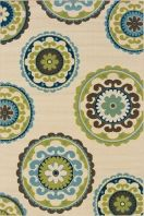 Caspian is a striking new indoor/outdoor collection in trend-forward shades of indigo and Mediterranean blue and bright lime green. Simple, sophisticated patterns come alive with tons of texture and pop of bright color. It is a collection of high-style, high durability rugs that are perfect for the outdoors or for any room in the home.