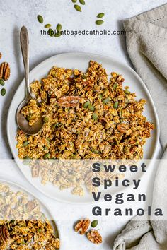 Sweet Spicy Vegan Granola is loaded with plant-based superfoods and savory spices for a crunchy, sweet, spicy snack. Plant-based, oil-free, sugar-free. #superfoods #coconut #pepitas #pumpkinseeds #pecan #turmeric #granola #vegan #glutenfree #oilfree #sugarfree #plantbased #oilfreevegan #sugarfreevegan #glutenfreevegan #wfpb #forksoverknives #catholic #catholiclife #theplantbasedcatholicc