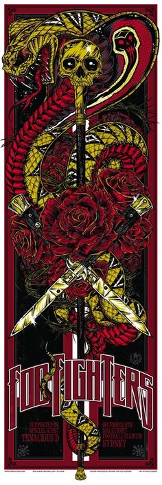 Foo Fighters Sydney concert poster by Rhys Cooper ~ classic heavy metal psychedelic rock music poster. Rock Posters, Band Posters, Psychedelic Rock, Foo Fighters Poster, Rhys Cooper, Concert Rock, Ken Taylor, Pop Art, Tenacious D