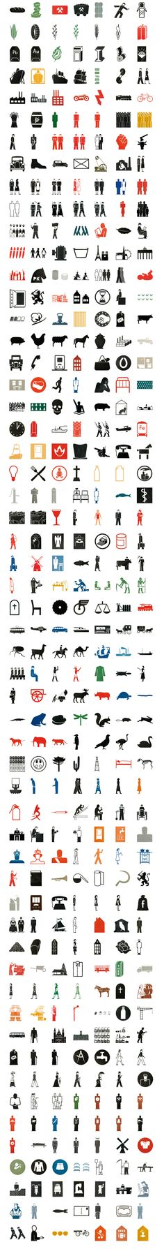 isotype icons by Otto Neurath + Gerd Arntz (1930's to 1960's)