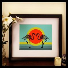 These guys look stylin in their new frame! #bexta #flamingo #art #style #fashion #frame #print #homewares #decor #design #giclee #etsy #etsyshop #etsystore #colour #trend #tropical #poster #artsy #animal #artist #creative #stylin #artforsale #Padgram Flamingo Art, Etsy Store, Style Fashion, Artsy, Tropical, Colour, Animal, Guys, Frame